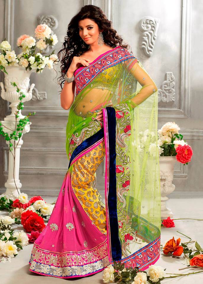 Latest Colorful And Stylish Krishna Party Wear Sarees (7)