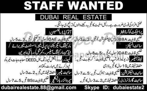 Dubai reasonable posts, posts required, Site Inspector Job, Site Project Coordinator, Land Officer Job, Site Electrician Job