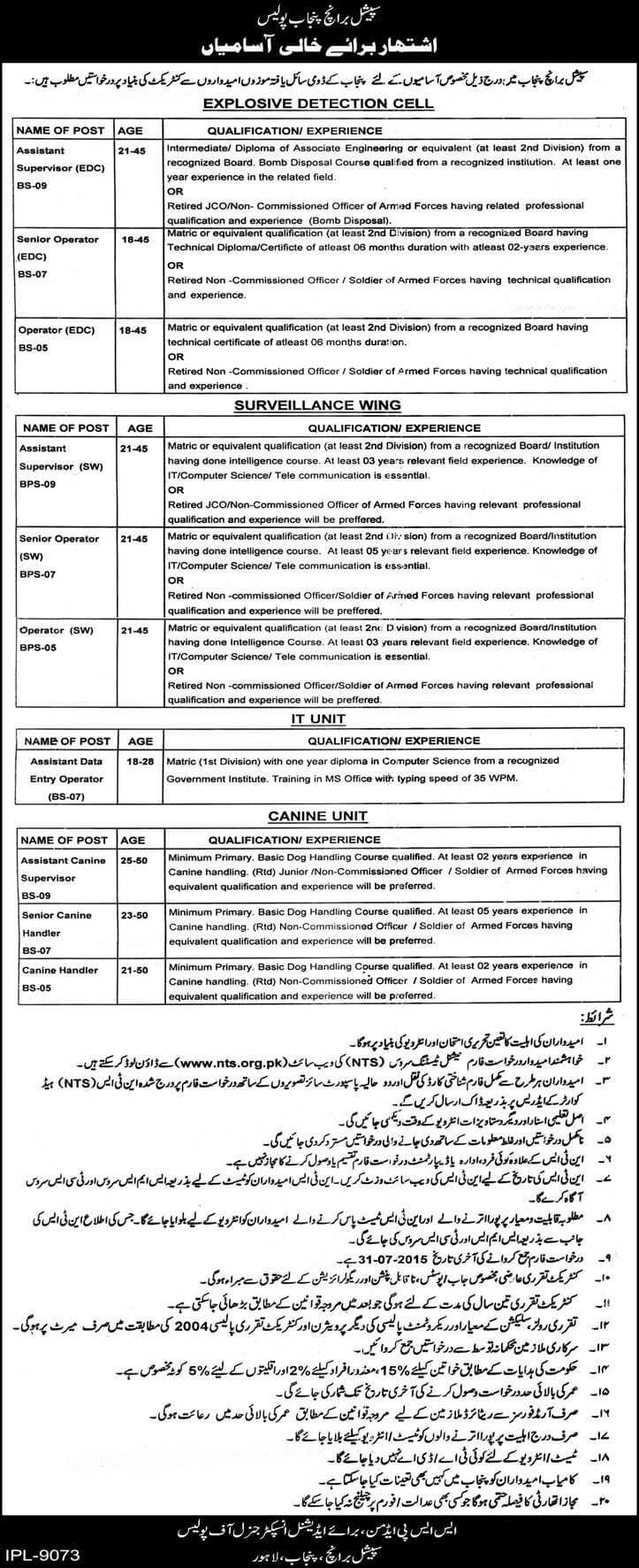 Punjab Police, Special Branch,jobs