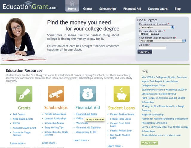 EducationGrant Financial Aid website