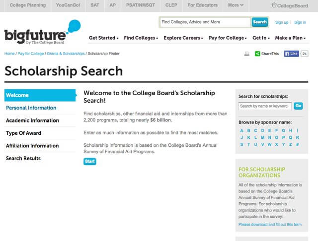 Financial aid website BigFuture by The College Board