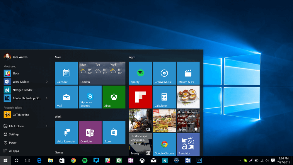 windows 10 preview the start menu